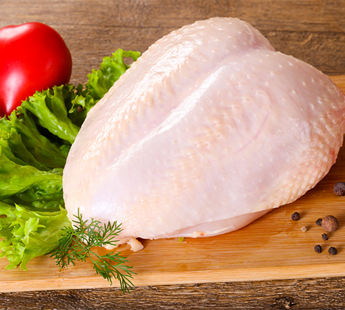 Fresh chicken breast with skin
