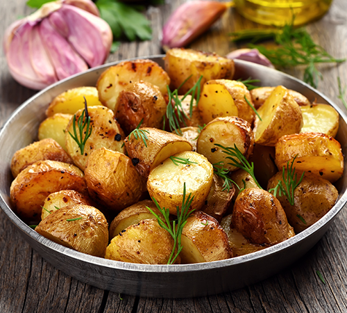 roasted potatoes on the pan