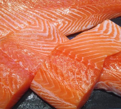 Pieces of fresh wild salmon